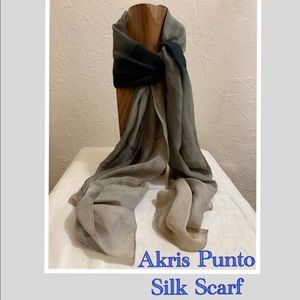 AKRIS PUNTO tan & black designer Ombré silk scarf